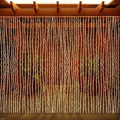 LED Concepts Curtain String Icicle Fairy Lights - 300 LED with 8 Lighting Modes