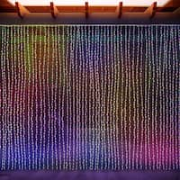 LED Concepts Curtain Multicolored LED String Icicle Fairy Lights (8' x 8')