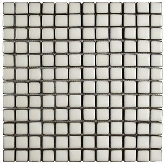SomerTile 12x12-inch Aspect Square Ivory White Porcelain Mosaic Floor and Wall Tile (5/Case, 5.1 sqft.)