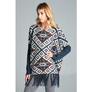 Spicy Mix Women's Skyla Tribal-pattern Fringe-hemmed Poncho/Sweater