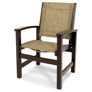 Coastal Mahogany and Burlap-finish Polywood Dining Chair