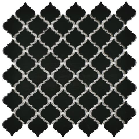 SomerTile 12.375x12.5-inch Antaeus Glossy Black Porcelain Mosaic Floor and Wall Tile (10 tiles/10.7 sqft.)