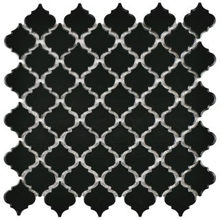 SomerTile 12.375x12.5-inch Antaeus Glossy Black Porcelain Mosaic Floor and Wall Tile (10/Case, 10.96 sqft.)