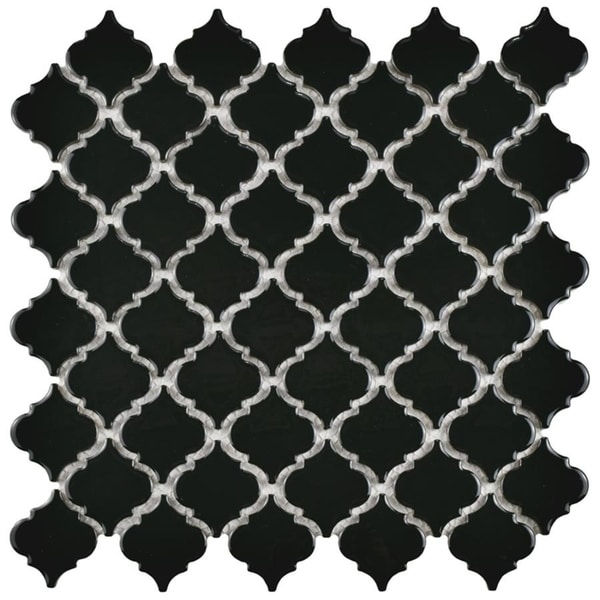 SomerTile 12.375x12.5-inch Antaeus Glossy Black Porcelain Mosaic Floor and Wall Tile (10 tiles/10.7 sqft.). Opens flyout.