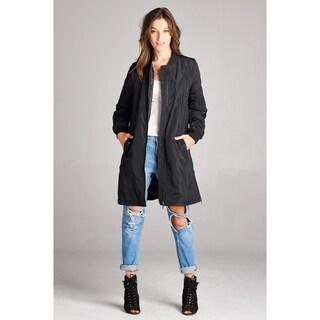 Spicy Mix Tania Zipper Closure Extra Long Long-sleeved Bomber Jacket
