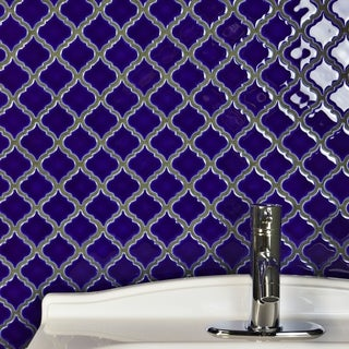 SomerTile 12.375x12.5-inch Antaeus Cobalt Blue Porcelain Mosaic Floor and Wall Tile (10/Case, 10.7 sqft.)