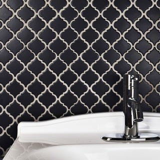 SomerTile 12.375x12.5-inch Antaeus Matte Black Porcelain Mosaic Floor and Wall Tile (10/Case, 10.96 sqft.)