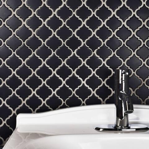 SomerTile 12.375x12.5-inch Antaeus Matte Black Porcelain Mosaic Floor and Wall Tile