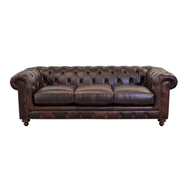 Shop Newbury Top Grain Leather Chesterfield Sofa with Button Tufting ...