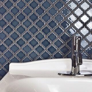 SomerTile 12.375x12.5 Inch Antaeus Denim Blue Porcelain Mosaic Floor And  Wall Tile