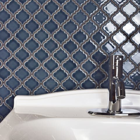 SomerTile 12.375x12.5-inch Antaeus Denim Blue Porcelain Mosaic Floor and Wall Tile (10 tiles/10.7 sqft.)