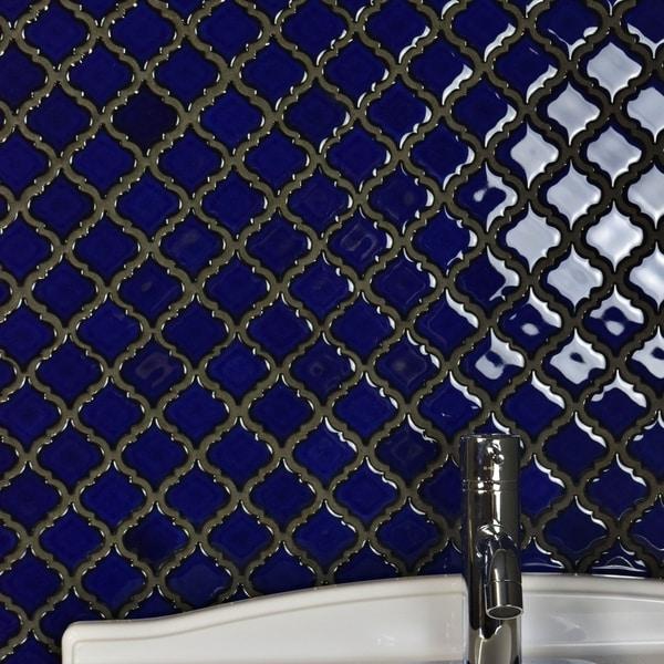 SomerTile 12.375x12.5-inch Antaeus Blue Eye Porcelain Mosaic Floor and Wall Tile (10 tiles/10.7 sqft.). Opens flyout.