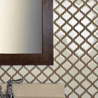 SomerTile 12.375x12.5-inch Antaeus Snowcap White Porcelain Mosaic Floor and Wall Tile (10/Case, 10.96 sqft.)