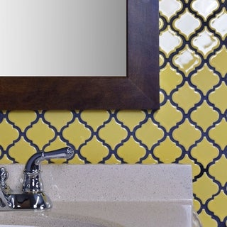 SomerTile 12.375x12.5 Inch Antaeus Vintage Yellow Porcelain Mosaic Floor  And Wall Tile