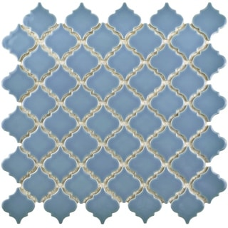 SomerTile 12.375x12.5-inch Antaeus Light Blue Porcelain Mosaic Floor and Wall Tile (10/Case, 10.96 s