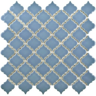 SomerTile 12.375x12.5-inch Antaeus Light Blue Porcelain Mosaic Floor and Wall Tile (10/Case, 10.96 sqft.)