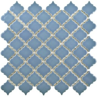 SomerTile 12.375x12.5-inch Antaeus Light Blue Porcelain Mosaic Floor and Wall Tile (10 tiles/10.7 sqft.)