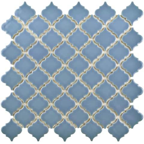 SomerTile 12.375x12.5-inch Antaeus Light Blue Porcelain Mosaic Floor and Wall Tile (10 tiles/10.7 sqft.)