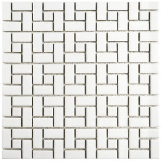 SomerTile 12.5x12.5-inch Spiral Matte White and Glossy White Porcelain Mosaic Floor and Wall Tile (10/Case, 11.07 sqft.)