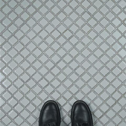 SomerTile 12.375x12.5-inch Antaeus Silk White Porcelain Mosaic Floor and Wall Tile