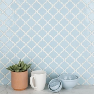 SomerTile 12.375x12.5-inch Antaeus Cashmere Blue Porcelain Mosaic Floor and Wall Tile (10/Case, 10.96 sqft.)