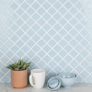 SomerTile 12.375x12.5-inch Antaeus Cashmere Blue Porcelain Mosaic Floor and Wall Tile (10/Case, 10.9