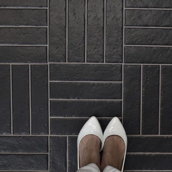 Shop SomerTile 2.375x9.5-inch Brooklyn Brick Black Porcelain Floor ...