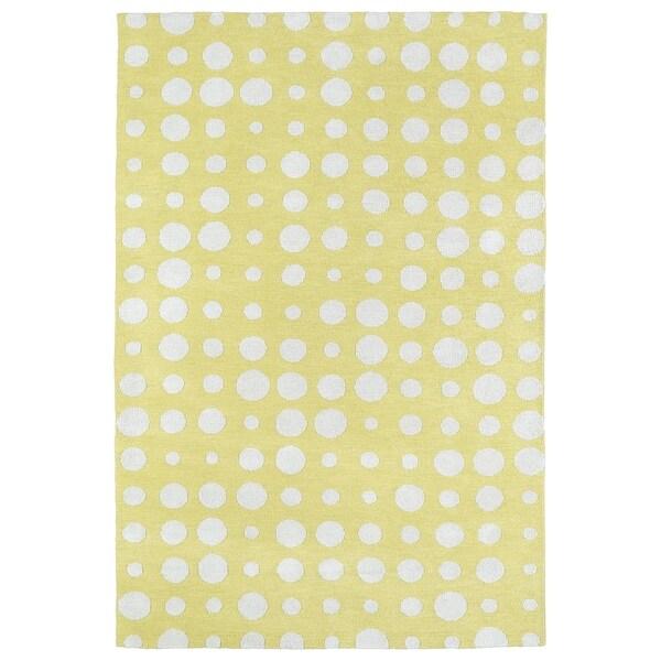 Littles Yellow & Ivory Dots Microfiber Rug (4' x 6')