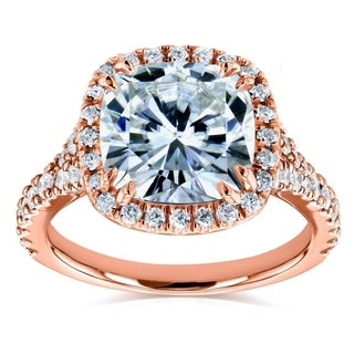 Annello 14k Rose Gold 3 1/3ct TCW Cushion Moissanite and Diamond Halo Cathedral Ring (G-H, I1-I2)
