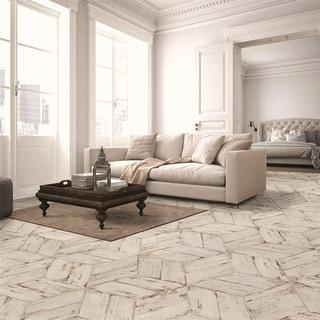 Link to SomerTile 7.125x16.375-inch Lambris Naveta Blanc Porcelain Floor and Wall Tile (13 tiles/11.07 sqft.) Similar Items in Tile