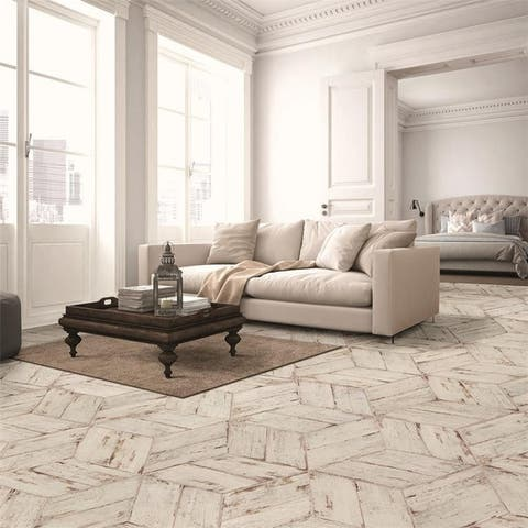 SomerTile 7.125x16.375-inch Lambris Naveta Blanc Porcelain Floor and Wall Tile (13 tiles/11.07 sqft.)