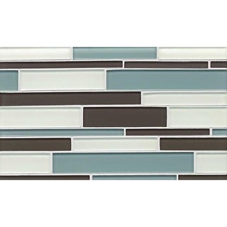 Hamptons Cove Random Interlock White/ Grey/ Blue Gloss/Matte Glass Tile (10 Sheets Per Case)