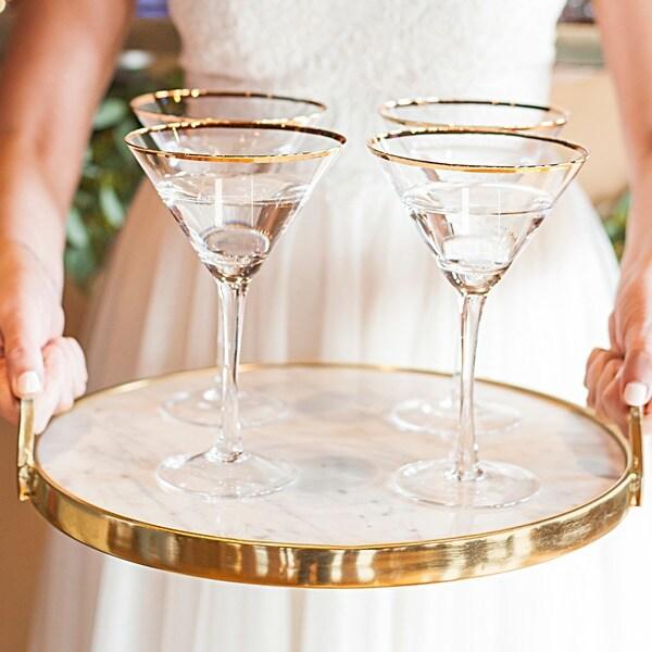 19ac83339e07 Shop Personalized 10 oz. Gold Rim Martini Glass Set (Set of 4 ...