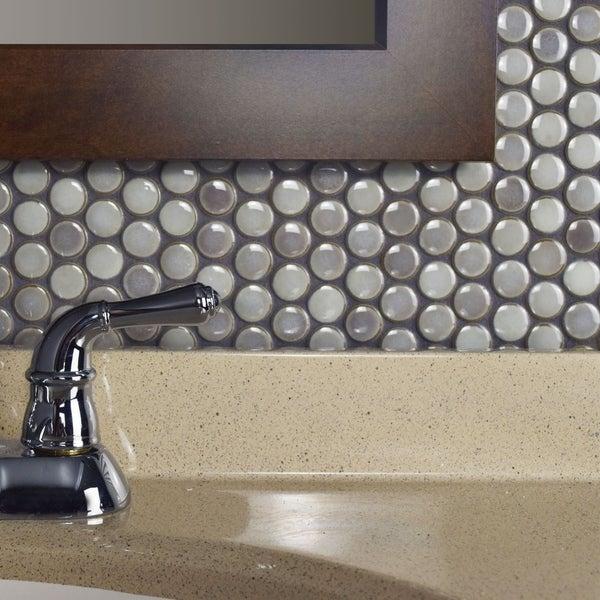 Somertile penny dove grey porcelain mosaic for 12 inch floor tile