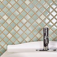 SomerTile 12.375x12.5-inch Antaeus Mint Green Porcelain Mosaic Floor and Wall Tile (10 tiles/10.7 sqft.)