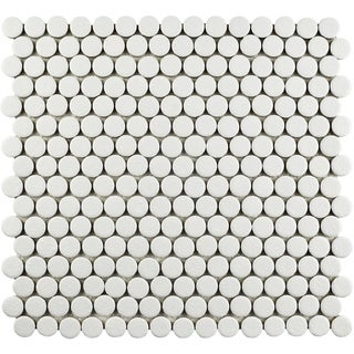SomerTile 12x12.625-inch Penny Scholar White Porcelain Mosaic Floor and Wall Tile (10/Case, 10.2 sqft.)