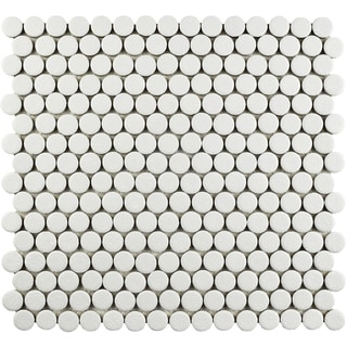 SomerTile 12x12.625-inch Penny Scholar White Porcelain Mosaic Floor and Wall Tile (10/Case, 10.42 sqft.)