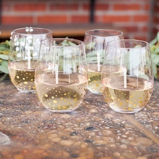 Personalized 19.25 oz. Gold Dotted Stemless Wine Glasses (Set of 4)