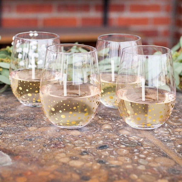 80031826ad Shop Personalized 19.25 oz. Gold Dotted Stemless Wine Glasses (Set ...