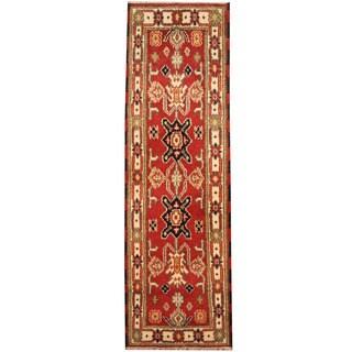 Herat Oriental Indo Hand-knotted Tribal Kazak Wool Runner (2'1 x 6'10)