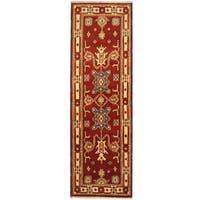 Handmade Herat Oriental Indo Tribal Tribal Kazak Wool Runner (India) - 2'2 x 6'8