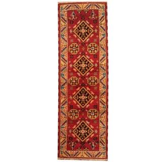 Herat Oriental Indo Hand-knotted Tribal Tribal Kazak Wool Runner (2'2 x 6'8)