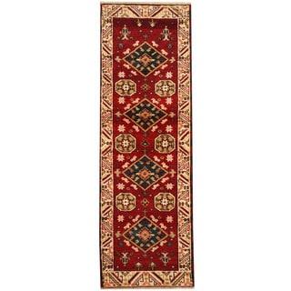 Herat Oriental Indo Hand-knotted Tribal Kazak Wool Runner (2'2 x 6'9)