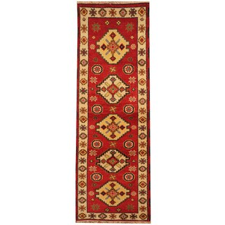 Handmade Herat Oriental Indo Tribal Kazak Wool Runner (India) - 2'2 x 6'4