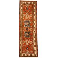 Herat Oriental Indo Hand-knotted Tribal Kazak Wool Runner - 2'3 x 6'10