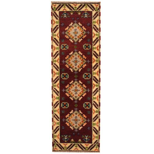 Herat Oriental Indo Hand-knotted Tribal Tribal Kazak Wool Runner (2'2 x 6'8) - 2'2 x 6'8