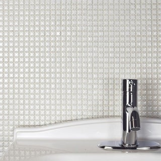 SomerTile 12x12-inch Florecilla Glossy Blanco Ceramic Mosaic Floor and Wall Tile (10/Case, 10.21 sqf