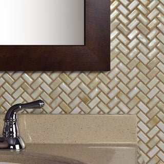SomerTile 11.625x11.625-inch Samoan Herringbone Glacier Porcelain Mosaic Floor and Wall Tile (10/Case, 9.59 sqft.)