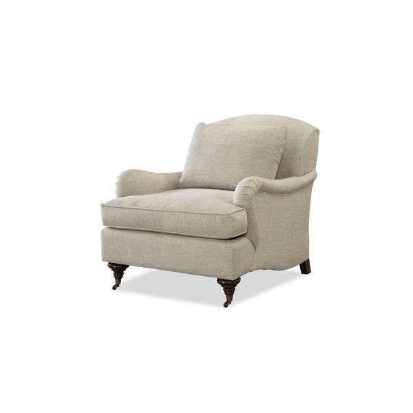 Churchill Beige Wood Upholstered Accent Chair