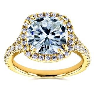 Annello by Kobelli 14k Yellow Gold 3 1/3ct TCW Cushion Moissanite and Diamond Halo Cathedral Ring